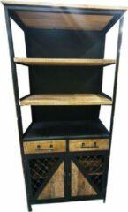 Bruine Vtw Living Industriële boekenkast van Mangohout - Boekenkast - Kast - Opbergkast - Industrieel - Kantoor - Keuken - Woonkamer - Industriële kast - Sideboard - Mangohout - Landelijk - Industriële kast - Sfeer - Luxe - Premium - 200 cm hoog