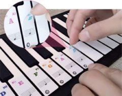 Zwarte Merkloos / Sans marque Piano Stickers - Gekleurde Noten - Voor Beginners - Lezen Muziek Noten - 88 - Keyboard - Toetsen - Eenvoudig Leren Spelen