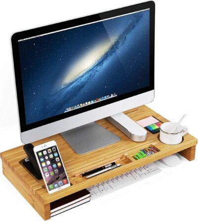 Afbeelding van Beige Nancy's Monitor Verhoger Standaard - Laptop Beeldschermverhoger - Laptoptafel Bamboe
