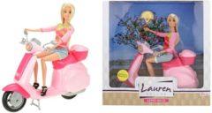 Roze Toi-toys Lauren Tienerpop Op Scooter 28 Cm
