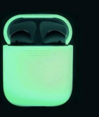 Airpodhoes Siliconen Bescherm Hoes Cover Case voor Apple AirPods - Glow In The Dark