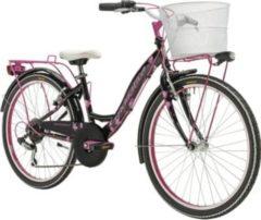 Rosa 24 Zoll Mädchen Fahrrad 6 Gang Adriatica CTB Adriatica schwarz-pink