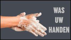 Grijze MatStyles Vloerkleed Tapijt Message Mat - Was uw handen! - 150x85 - COVID-19 - Wasbaar