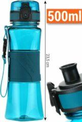 Drinkfles Herbruikbare Waterfles | 500 ml Lichtblauw | Vaatwasserbestendig Drinkbus Bidon | King Mungo KMDF006
