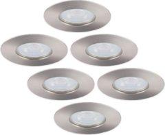 Roestvrijstalen HOFTRONIC Set van 6 dimbare LED inbouwspots Bari RVS GU10 4,2 Watt 6000K IP65 spatwaterdicht