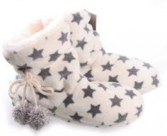 Merkloos / Sans marque Hoge dames pantoffels/sloffen met sterren print creme wit 37-38