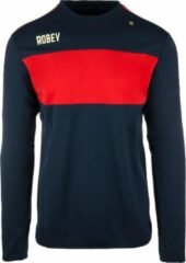 Marineblauwe Robey Sweater - Voetbaltrui - Navy/Red Stripe - Maat XL