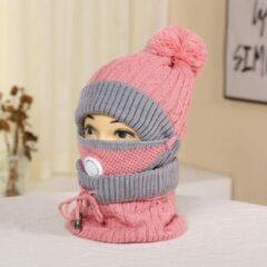 Knaak 3-1 Muts - Sjaal - Mondkap - Wol - Warm - One Size - Roze/Grijs