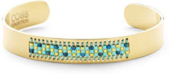 CO88 Collection Serenity 8CB 90127 Stalen Open Bangle met Miyuki Beads - One-size (63x50x10 mm) - Goudkleurig