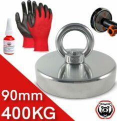 Brute Strength Vismagneet - 400 kg trekkracht- Magneetvissen - Incl. Handschoenen - Prikstok Adapter - Schroefdraadborgmiddel (10 ml)