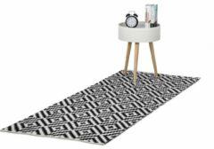 Relaxdays vloerkleed katoen - antislip kleed - zwart-wit - woonkamer tapijt - 3 groottes 80x200cm