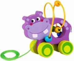 Tooky Toy Trekfiguur Nijlpaard 15 X 14,5 Cm Hout Paars/groen