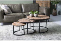 Naturelkleurige AnLi-style Salontafel Dakota Set Van 3 - Rond & industrieel - driftwood