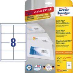 Avery-Zweckform 4782 Etiketten 97 x 67.7 mm Papier Wit 240 stuks Permanent Universele etiketten Inkt, Laser, Kopie 30 vel DIN A4