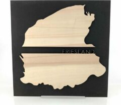 Creme witte WoodWideCities Provincie Friesland Zwart hout - 55x55 cm - Woon decoratie - Wanddecoratie
