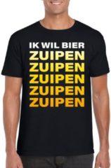 Shoppartners Oktoberfest - Ik wil bier zuipen tekst t-shirt zwart heren L