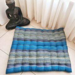 DeSfeerbrenger Zabuton – Meditatiemat – Zitkussen - Thais kussen/mat – Extra groot - Kapokvulling – 70x70cm - Blauw/grijs