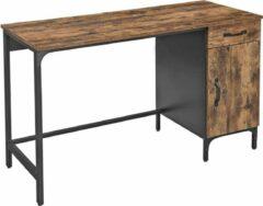 Acaza Bureau met lade en kast voor studeerkamer of thuis kantoor, kantoormeubel in metaal, industrieel ontwerp, vintage bruin-zwart