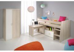Multifunktionsbett mit Kleiderschrank 'Charly 5' Akazie-Weiß Parisot Akazie / Weiß