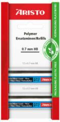 Zwarte Potloodstiftjes Aristo HI-Polymer HB 0,7 mm blister 2x koker a 12 stuks AR-86708B