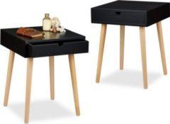 Relaxdays 2x Nachttisch Set ARVID Nachtschränke Nachtschrank Nachtischschrank Holz schwarz