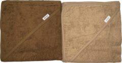 Zandkleurige Baby badcape / omslagdoek   brown & sand (set van 2) - 100% katoen - Funnies