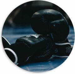 Blauwe KuijsFotoprint Dibond Wandcirkel - Zwarte Bokshandschoenen - 80x80cm Foto op Aluminium Wandcirkel (met ophangsysteem)