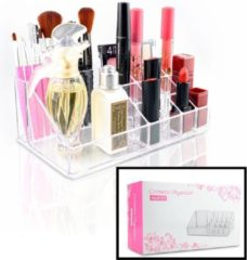 Make up Organizer met 16 Vakken – Make-up Organizer Transparant - Sieraden Makeup Cosmetica Opbergsysteem - Display Houder voor Lippenstift / Nagellak / Brushes / Visagie - Make up kwasten / Sieraden etc. - Decopatent®