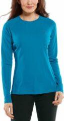 Blauwgroene Coolibar - UV Zwemshirt voor dames - Longsleeve - Hightide - Nordic Teal - maat S
