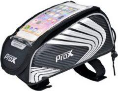 ProX Frametas met telefoonhouder - Smartphone tot 5,5 inch - Zwart 1.5Liter - MTB/mountainbike