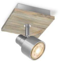 Bruine Home sweet home LED opbouwspot Drift ↔ 12 cm - mat staal
