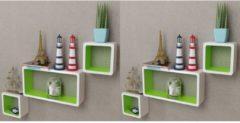 VidaXL Wandplanken kubus 6 st wit en groen