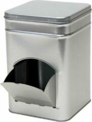 Merkloos / Sans marque 1x Zilver vierkant opbergblik/bewaarblik met dispenser 21 cm - Zilveren koffiecups/suikerklontjes voorraadblikken - Voorraadbussen met dispenser