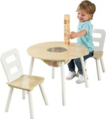 Naturelkleurige KidKraft Set met ronde opbergtafel en 2 stoelen - naturel en wit