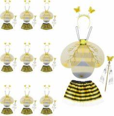 Gele Relaxdays 10 x bijenpakje kinderen - bijen kostuum - vleugels - hommel – carnavalskleding