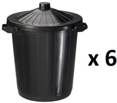 Zwarte 6 x 80L Rossignol plastic refuse containers with lid