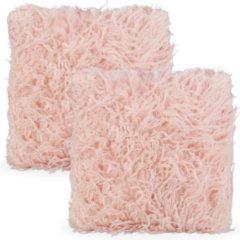 Relaxdays sierkussen roze - 2 fluffy kussens - bankkussen - harig woonkussentje - 45 x 45