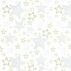 Original Giftwrap Cadeaupapier - Xmas on Glossy - Kerst Sterren Goud en Zilver op Wit - 30cm x 200m