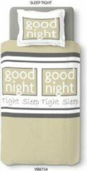 Beige Better Nights 1-Persoonsdekbedovertrek katoen Sleep tight 140x200 met 1 kussensloop 65x65