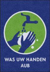 Blauwe MatStyles Vloerkleed Tapijt Message Mat - Was uw Handen AUB - 85x60 - COVID-19 - Wasbaar