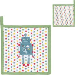 Groene Clayre & Eef - Pannenlap - Robots - 20 x 20 cm
