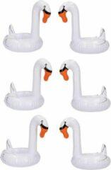 Witte Swan Opblaasbare Zwaan Bekerhouder Set voor Bekers en Blikjes – 6 stuks – 18 x 10 x 10 cm | Opblaas Drankhouder | Opblaasartikel | Zwembadaccessoire | Drankhouders | Bekerhouders | Opblaasartikelen | Opblaasfiguur