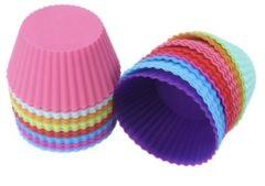 Rode Siliconen Cupcake Vormpjes | Ronde Muffin Bakvorm Cakejes | Mini Cake Bakvormpjes | 12 stuks