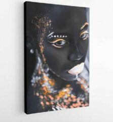 Onlinecanvas Portrait of young african woman with colorful abstract make-up on face. unusual, interesting, fantastic shoot. body art, neon lights, fluorescence. black and white - Modern Art Canvas - Vertical - 1710141715 - 40-30 Vertical