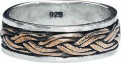 Gouden Etnox Keltische knoop 925 zilveren ring met brons maat 56