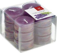 Trend Candles 12x Geurtheelichtjes lavendel/paars 4 branduren - Geurkaarsen lavendelgeur - Waxinelichtjes