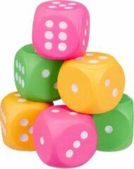 Relaxdays dobbelstenen foam - 6 stuks - kleurrijk - schuimstof dobbelstenen - stof zacht