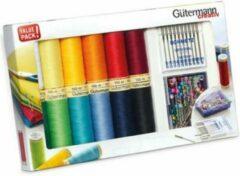 Gutermann Gütermann 734563 Allesnaaigaren set 12 spoelen assorti, spelden en naaimachinenaalden