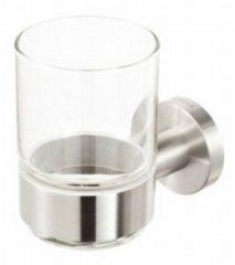 Roestvrijstalen Geesa Nemox Steel Glashouder met glas Geborsteld RVS 91650205