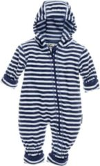 Marineblauwe Playshoes Babypyjama Onesie Fleece Junior Gestreept Navy Maat 68